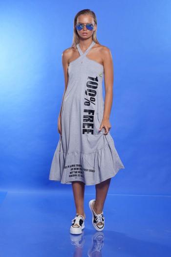 שמלה אפורה צווארון קולר FREE