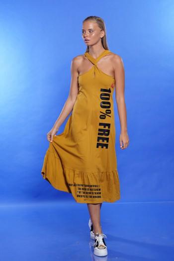 שמלה צהוב חרדל צווארון קולר FREE