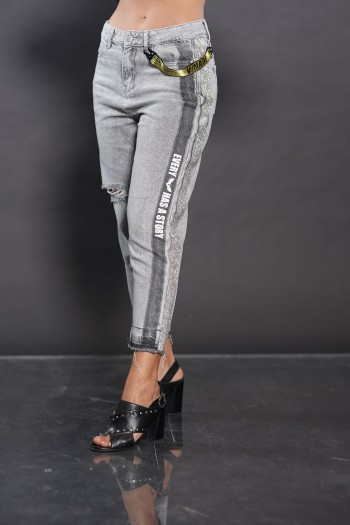 ג'ינס אפור פס כסוף STORY