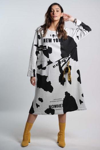 שמלת כתמים שחור אפור NY