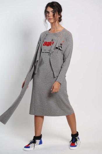 שמלת סריג אפורה BOWIE