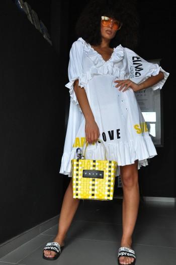 שמלת מלמלה לבנה LOVE