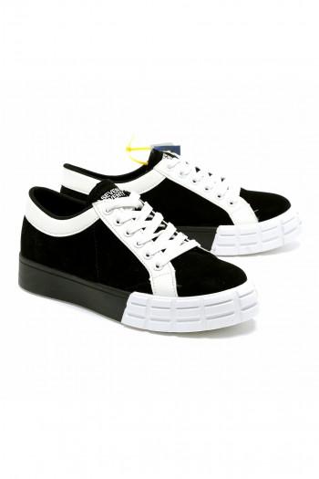 נעלי סניקרס שילוב קטיפה שחור לבן SEVEN