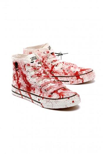 נעלי סניקרס גבוהות שפריצים באדום לבן SKULL