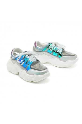 נעלי סניקרס כסופות בשילוב גוונים כחולים SEVEN
