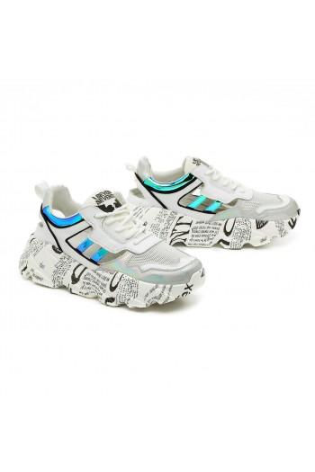 נעלי סניקרס לבנות עם עקב מקושקש SEVEN