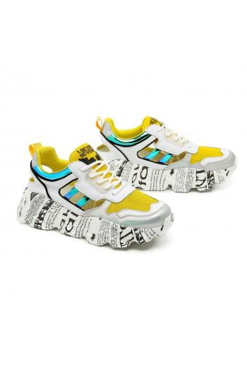 נעלי סניקרס לבנות בשילוב גוונים צהובים עקב מקושקש SEVEN