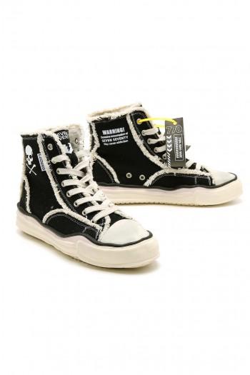 נעלי סניקרס שחורות בגזרה גבוהה WARNING