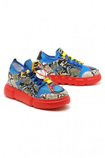 נעלי סניקרס מנוחשות בגווני אדום וכחול פלטפורמה נסתרת LIMITED