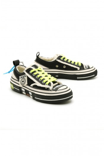 נעלי סניקרס בגזרה נמוכה שחור-צהוב נאון STAR