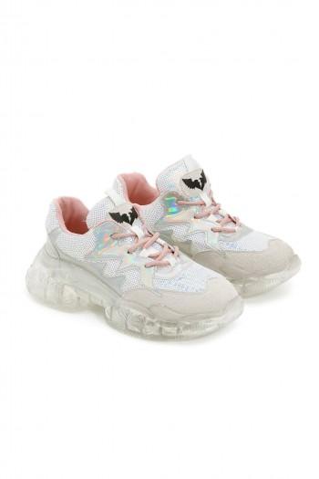 נעלי סניקרס פאייטים כסופים שרוכים ורודים SHINE