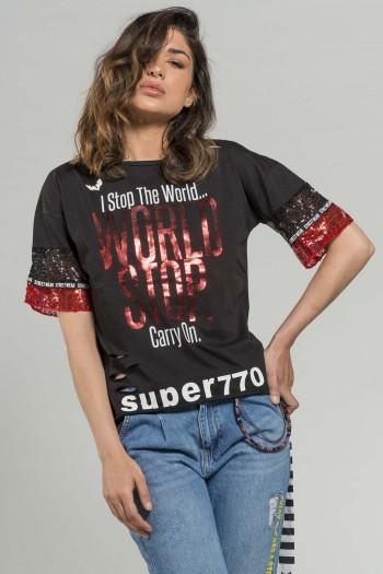 חולצת T  שחורה שרוול פייטים  WORLD