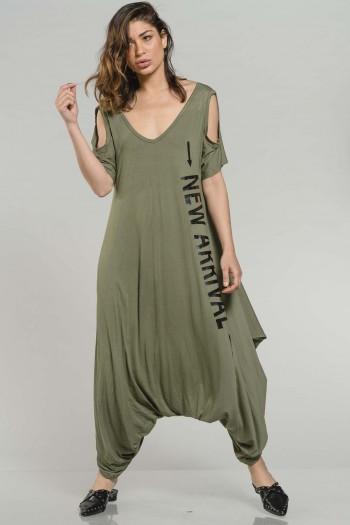 אוברול שקי בצבע זית גזרת שמלה NEW ARRIVAL
