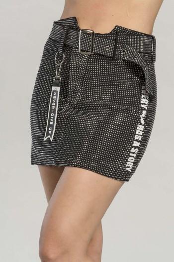 חצאית מיני ניטים שחורה GLAM