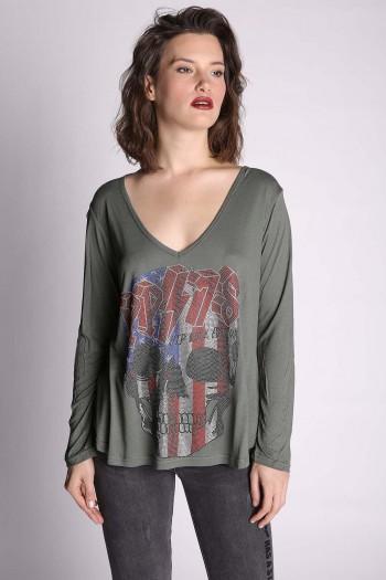 חולצת גולגולת ירוק זית PP