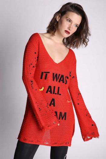 חולצת סריג אדומה שרוול ארוך IT WAS