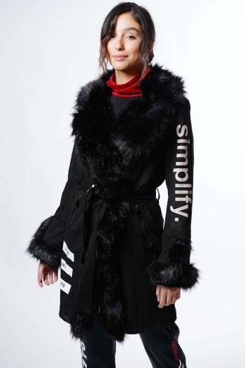 מעיל זמש שחור ארוך SIMPLIFY