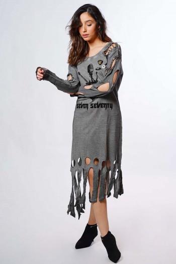 שמלת קרעים אפורה ROCK