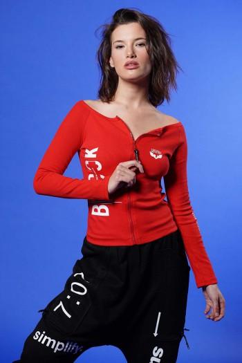 חולצת רוכסן אדומה שרוול ארוך BROOK