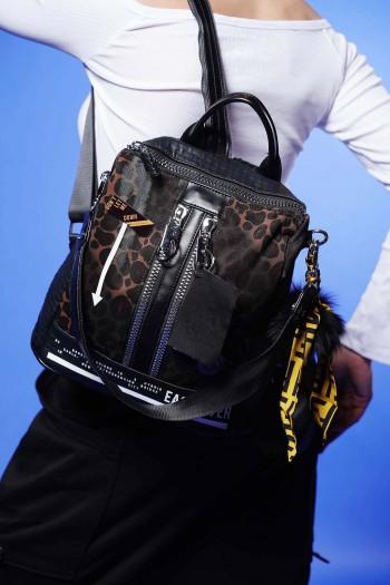 תיק גב שחור מעוצב בעבודת יד LEOPARD