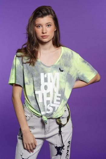חולצת T בגווני ירוק ואפור שטופים LIST