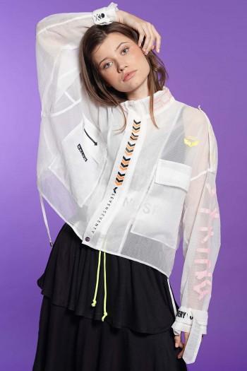 חולצת עליונית לבנה רשת BKLYN