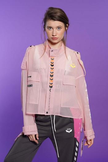 חולצת עליונית רשת בגוון ורוד בהירBKLYN