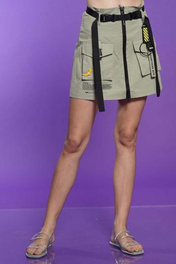 חצאית רצועות בז' זית  SOMETHING NEW