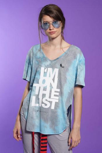 חולצת T בגווני תכלת ואפור שטופים LIST