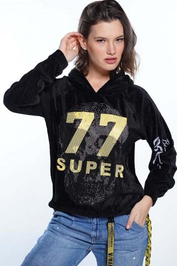 חולצת קרפ שחורה SUPER