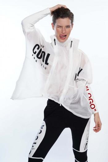 חולצת ג'קט לבנה רשת LOGO