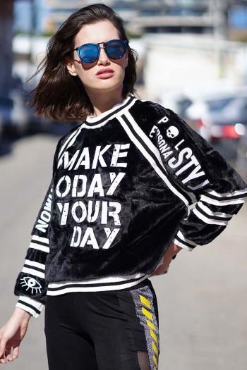 חולצת שחור לבן דמוי פרווה YOUR DAY