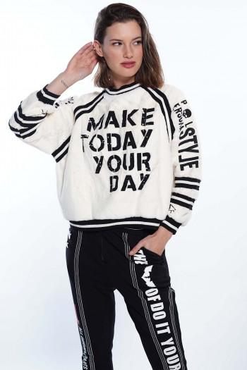 חולצת בז' דמוי פרווה YOUR DAY