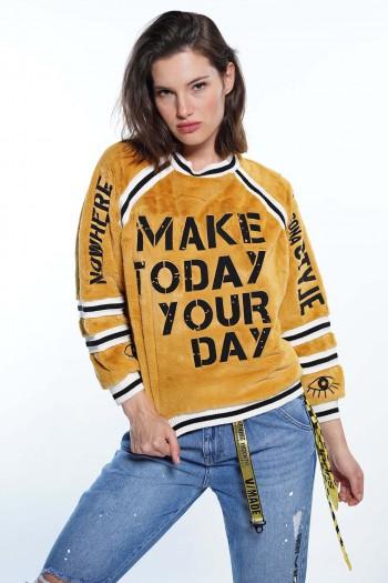 חולצת חרדל דמוי פרווה YOUR DAY