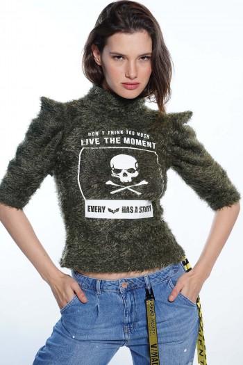 חולצת סריג ירוק זית פרוותי MOMENT