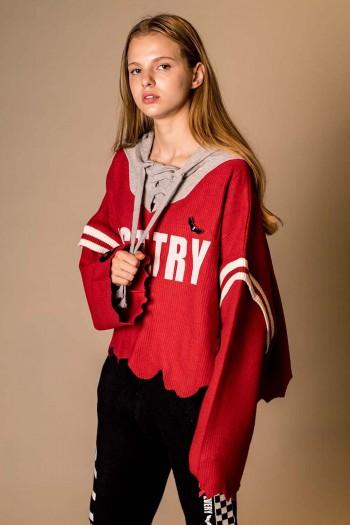 חולצת סריג אדומה שרוך JUST TRY