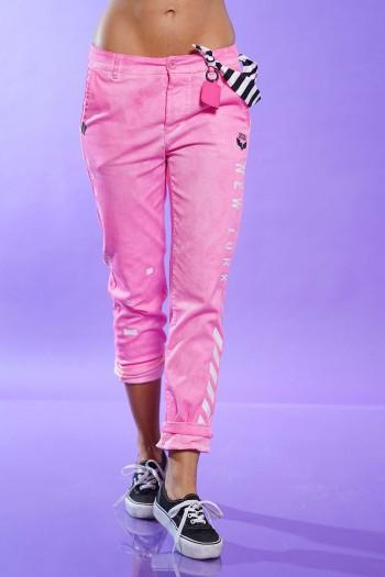 מכנסי כותנה בגוון ורוד זוהר NEW YORK