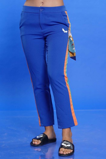 מכנסים כחולים בד גמיש פס צד ONE WAY
