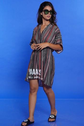 שמלת קיץ פסים ירוק אדום YAAASS