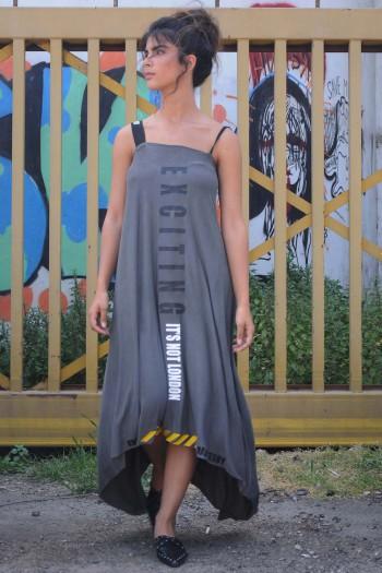 שמלת גופייה בגוון זית NOT LONDON