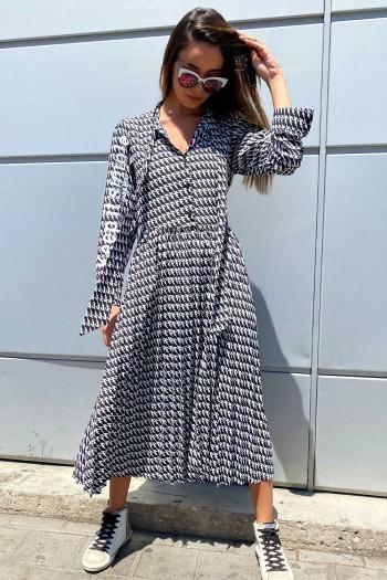 שמלת מקסי מידי פפיטה שחור לבן SIMPLE