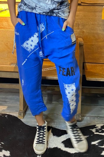 מכנסי פשתן שקי כחולים FEAR
