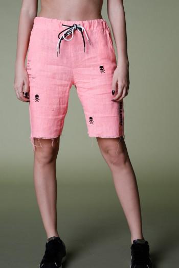 מכנסי ברמודה ורודים בד פשתן EVERY