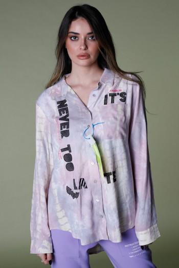 חולצה מכופתרת בגווני סגול וורוד  שטופים NEVER