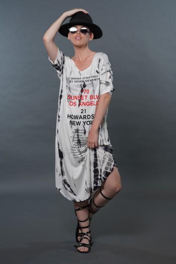 שמלת מידי בגווני אפור ושחור טאי דיי NEW YORK