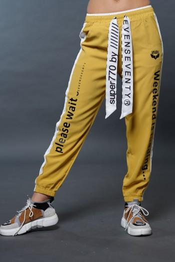מכנסי ג'וגר בגוון חרדל WEEKEND