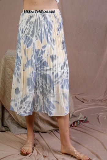 חצאית מידי פליסה בגווני תכלת צהוב ולבן DELETE