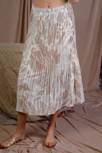 חצאית מידי פליסה בגווני ורוד חום ולבן DELETE