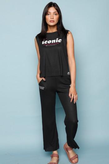סט גופייה ומכנסיים ארוכים שחור ICONIC