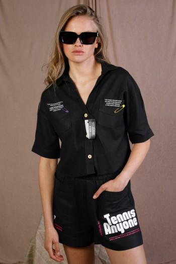 חולצה מכופתרת שחורה UNIFORM